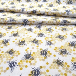 "Linen / cotton fabric ""Bees..."